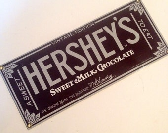 "HERSHEY'S CHOCOLATE! Beautiful Porcelain-on-Steel Sign, ""Vintage Edition"" -- Highly Collectible!"