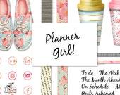 Flamingo clipart - Digital clip art - Planner accessories - Floral shoes - Digital word art - Commercial use clip art - social media - MK