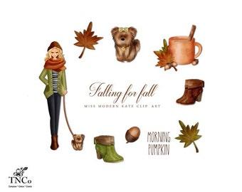Fashion illustration - Fall clip art - Autumn Clip art - Watercolor clipart - Autumn leaves illustration - Dog lovers clip art - MK