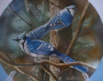 """Encyclopedia Britannica Birds of Your Garden Collection """"The Blue Jay"""" by Kevin Daniel for Edwin Knowles China"""