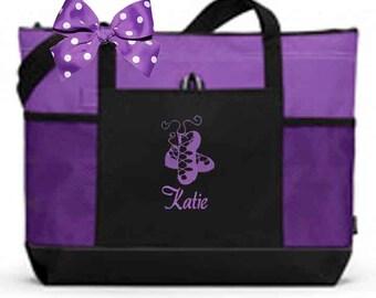 Personalized Black & Purple Tote Bag Dance Gymnastics Tap Jazz Cheer