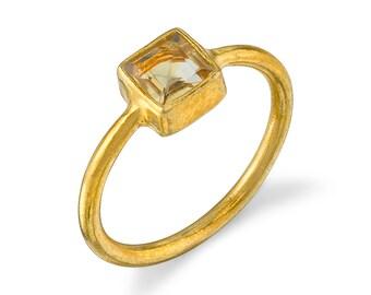 London Manori Square Citrine Gold Vermeil RING