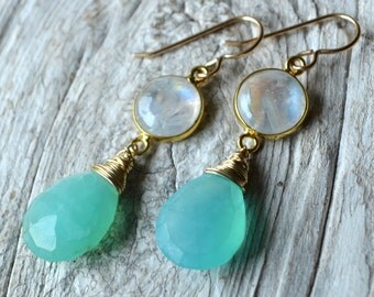 Peruvian Blue Opal and Moonstone Earrings in Gold