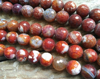 Rusted Brown Red Agate 14mm Round ball beads -28pcs/strand