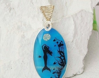 Labor Day Sale Under the Sea Mermaid Wire Wrapped Art Handmade Glass Jewelry, Fused Glass Pendant Necklace  E186