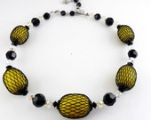 VENDOME 1960's Bright Yellow Beads in Black Net Mesh Necklace - Black & AB Crystal Beads, Adjustable Length