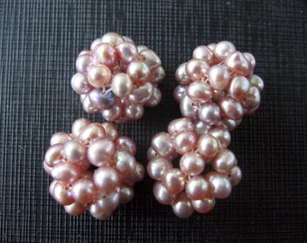 Mauve Beaded Freshwater Pearl Ball Cluster Beads 18mm