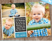 Ollie Blue Blocks Thank You   custom kids thank you multiple photo card, boy picture collage thank you card - DIY Printable Design File