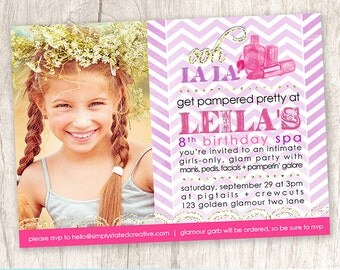 Spa Party Girls Birthday Party Photo Invitation, Girl Glamour Party Invite - DiY Printable, Print Service Available || Golden Glamour 2.0