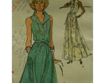 """Halter Dress Pattern, Sundress, Flip Collar, Button Front, Blouson Bodice, Long/Short Skirt, Vogue No.9185 Size 12 (Bust 34""""87cm)"""