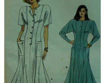 Flared Dress Pattern, Semi-Fitted, Princess Seams, Button Front, Patch Pockets, Jewel Neck, Long/Short Sleeves, Vogue No. 9868 Size 8 10