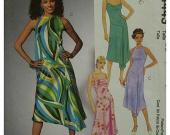 Asymmetrical Hemline Dress Pattern, Lined, Bias Cut Front, Straps, Open Shoulders, V-Shaped Waist, McCalls No. 4443 UNCUT Size 8 10 12 14