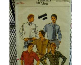 "Mens Dress Shirt Pattern, Casual Shirt, Button Band, Pocket, Long/Short Sleeves, Back Yoke, Vogue No. 9617 Size Chest 40""102cm)"