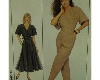 Wrap Bodice Jumpsuit Pattern, Kimono Sleeves, Waistband Insert, Side Buckles, Flared Skirt Dress, Simplicity 8492 UNCUT Size 6 8 10 Eng/Fr
