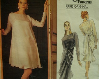 Karl Lagerfeld Swing Dress Pattern, Fitted Underdress, Spaghetti Straps, Sheer Flared Overdress, Vogue Paris Original 2407 Size 12-14