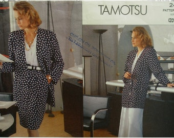 Plus Size Straight Jacket Pattern, Unlined, V-Neck, Culottes, Straight Skirt, Tamotsu, Vogue No. 2493 UNCUT Size 20 22 24