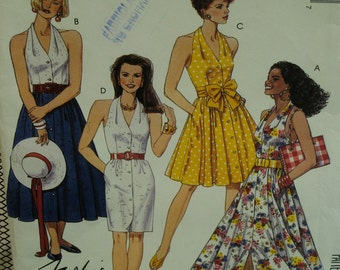 Halter Dress Pattern, Straight/Full Skirt, Three Lengths, Fitted Bodice, Button Front,Side Pockets, McCalls No.6047 UNCUT Size 10