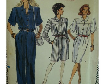 Straight Leg Jumpsuit Pattern, Front Pleats, Yoked Bodice, Collar,Front Buttons, Long/Short Sleeves, Belted, Vogue No.7454 UNCUT Size 6 8 10