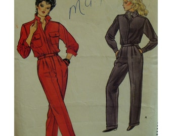Tailored Jumpsuit Pattern, Shirt Bodice, Waistband Insert, Front Pleats, Slant Pockets, Straight Legs, Long Sleeves, Vogue No.8810  Size 6 8