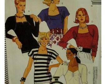 Square Neck Knit Top Pattern, Bolero-Look Shoulders, Long/Short Sleeves, Fitted, Rouched Front, McCalls No. 3994 UNCUT Size Medium (14-16)