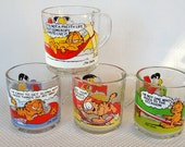 Set of 4 Vintage Garfield Glass Mugs made by Anchor Hocking for McDonald's