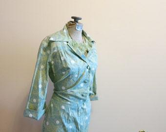 Dress shirtdress rockabilly shirt green graphic print circle 1950s vintage L