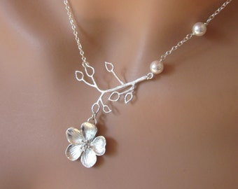 Silver Cherry Blossom Flower Pearl Leaf Necklace Wedding Jewelry Womens Bridal Party Gift