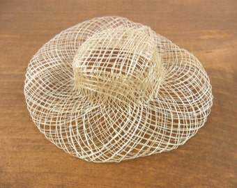 """7 Sinamay Doll Hats 4"""" Miniatures Cream / Off White"""