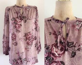 1970's Purple Rose Polyester Shirt Vintage Blouse Top Sz Medium Large by Maeberry Vintage