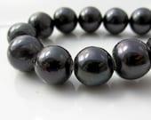 Black Pearls, Large Hole Pearls, Real Pearls, Round Pearls, Potato Pearls, Large Pearls, 2mm Hole Pearl, Genuine, 9mm-10.5mm, Half Strand