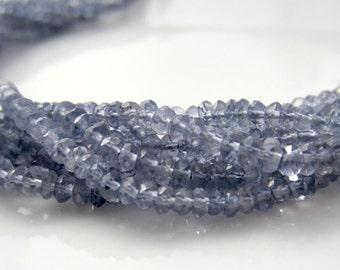 Iolite Rondelles, Micro Faceted Iolite, Blue Iolite Beads, Natural Iolite Rondel, Small Rondelle, 2.5-3mm Water Sapphire, Half Strand