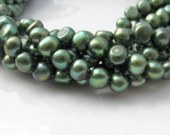 Forest Green Pearls, Freshwater Pearls, Nugget Pearls, Real Pearls, Dark Green Pearls, Large, Pearls, Genuine Pearls, 7mm-7.5mm Full Strand