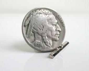 Indianhead Nickel Tie Tack - Indian Head Coin - Silver Tone