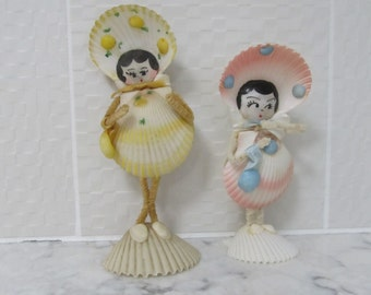 Vintage Pair of 1950's Era Sea Shell Art-- Mama and Daughter-- Girls
