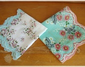 2 Vintage Mint Green Hankies Handkerchiefs Buuterflies and Apple Blossoms