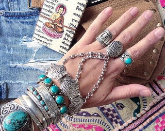 Silver plated bracelet and ring combo Turkish Ethnic inspired slave bracelet Adjustable Hand piece Bohemian bride Festival jewelry by Inali