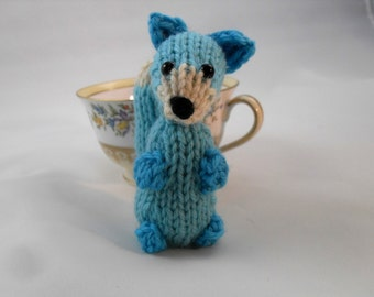 Hand Knit Blue Fox Plush READY TO SHIP
