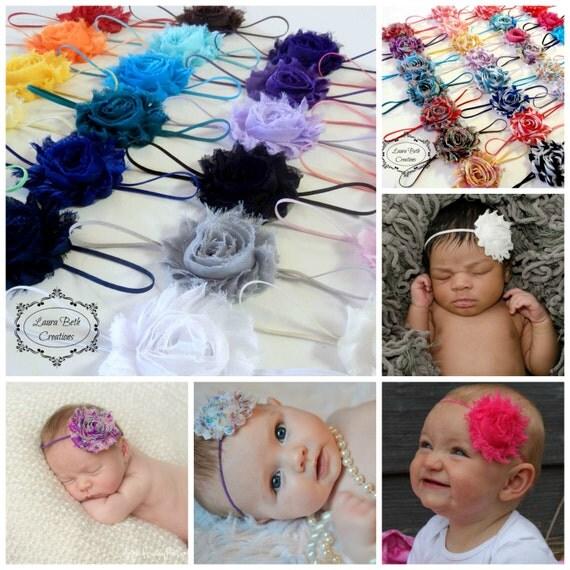 You Pick 4 - Shabby Chic Rose Headband Set, Infant Headband, Newborn Headband, Children's Headband, Women's Headbands, Baby Girl Headbands