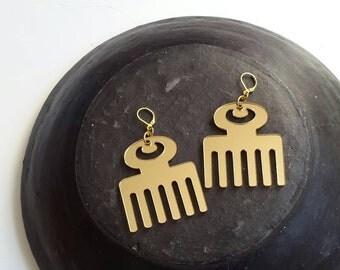 SALE//Duafe Inspirational Adinkra gold acrylic earrings
