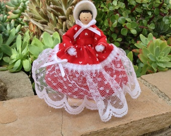 Southern bell-type clothespin doll - red dress with white hearts, white lace - ready to ship