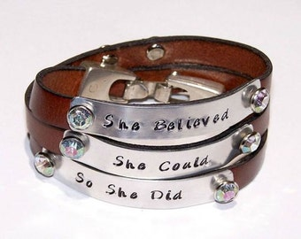 She Believed She Could So She Did Triple Wrap Cognac Brown Leather Bracelet or Personalize -Your Choice of Words-Hand Stamped -Metal Stamped