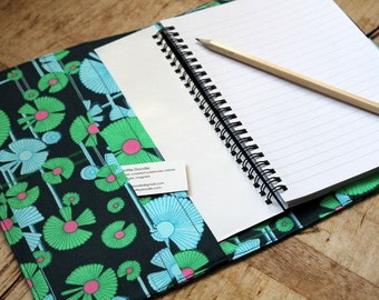 Large Amy Butler Wind Flower print fabric covered notebook - A5 removable fabric cover.