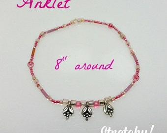 Anklet in Pink With Charms