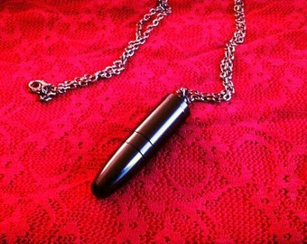 Secret Compartment Black Bullet Necklace
