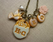 Couple's and Kids initial necklace, Multiple initial charms, Art jewelry, Artisan Crafted and Personalized