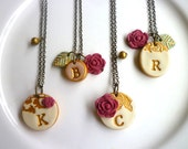 Bridesmaids Vintage Button Necklaces - Personalized Bridesmaids Jewelry - Color Customized  Set of 4