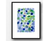 Constellation blue green dots, watercolor painting, abstract painting little painting