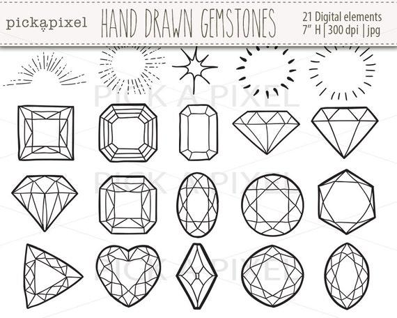 hand gezeichnet edelsteine diamanten in schwarzen umrissen