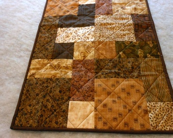 Table Runner in Browns Pieced and Quilted