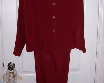 Womens Pant Suit, Brick Red Jacket & Pants,  Size 18W, by Nanas Vintage Shop on Etsy